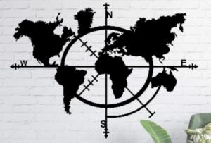 CNC Compass World Map Sign
