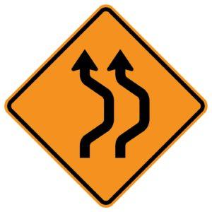 2 Lane Shift Sign