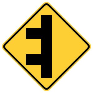 Double Sided Road Left Sign