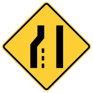 Left Lane Ends Sign