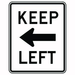 Keep Left Sign Version 2