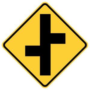 Road Junction Left First Sign