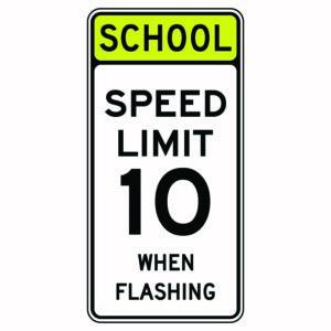 School Speed Limit 10 When Flashing Sign