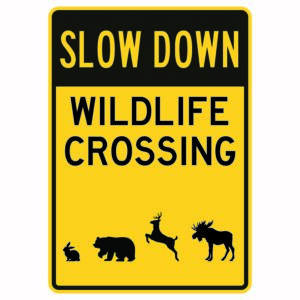 Slow down Wildlife Crossing Sign