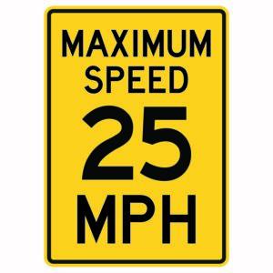 Maximum Speed 25 Mph Sign