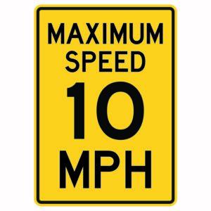Maximum Speed 10 Mph Sign