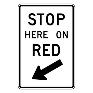 Stop Here on Red Sign
