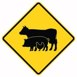 Farm Animal Crossing Xing Sign Version 2