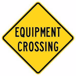 Equipment Crossing Xing Sign