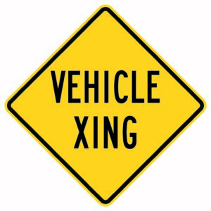Vehicle Xing Sign