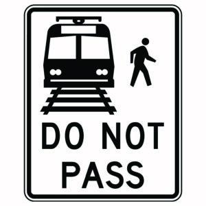 Do Not Pass Rail Xing Sign