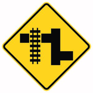 Advanced Parallel Railroad Left Xing Sign