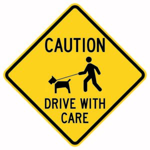 Caution rive with Care Xing Sign