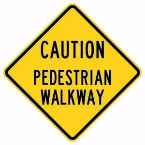 Caution Pedestrian Walkway Xing Sign
