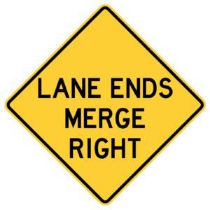 Lane Ends Merge Right Sgin