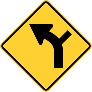 Left Curve and Side Road Sign