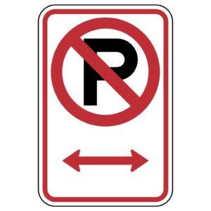 No Parking Symbol Both Ways Sign