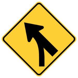 Entering Roadway Merge Left Sign
