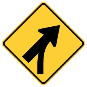 Entering Roadway Merge Right Sign