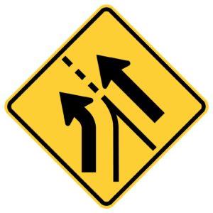 Entering Roadway Added Left Sign