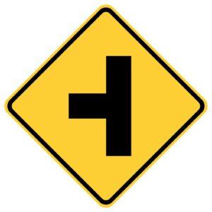 Side Road Left Sign