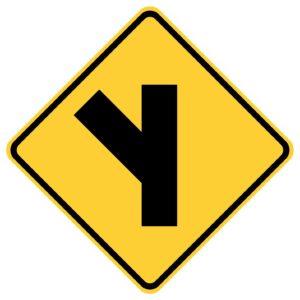 Side Road on Left Sign