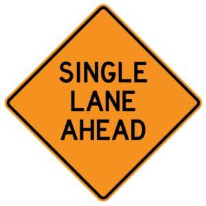 Single Lane Ahead Sign