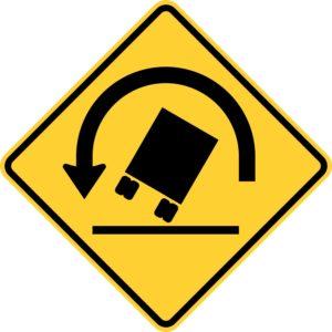 Truck Rollover Left Warning Sign