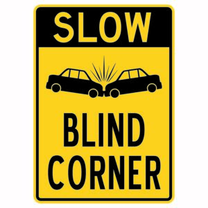 Slow Blind Corner with Cars Sign