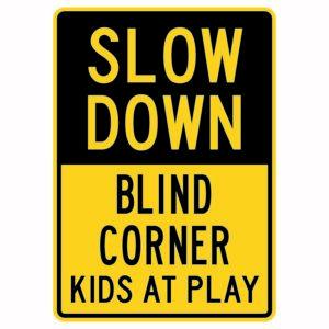 Slow Down Blind Corner Kids at Play
