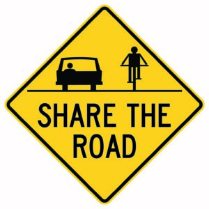 Share the Road Sign with Symbols