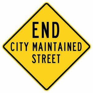 End City Maintained Street Sign
