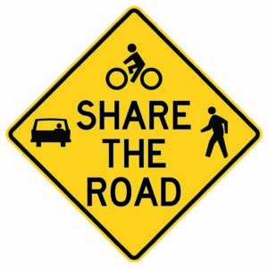 Share the Road with Symbols Sign