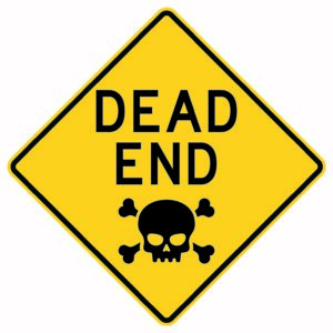 Dead End with Skull Sign