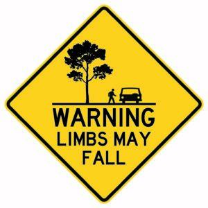 Warning Limbs May Fall Sign