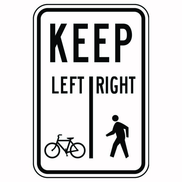 Keep Left Bike Keep Right Walk Sign Second Style